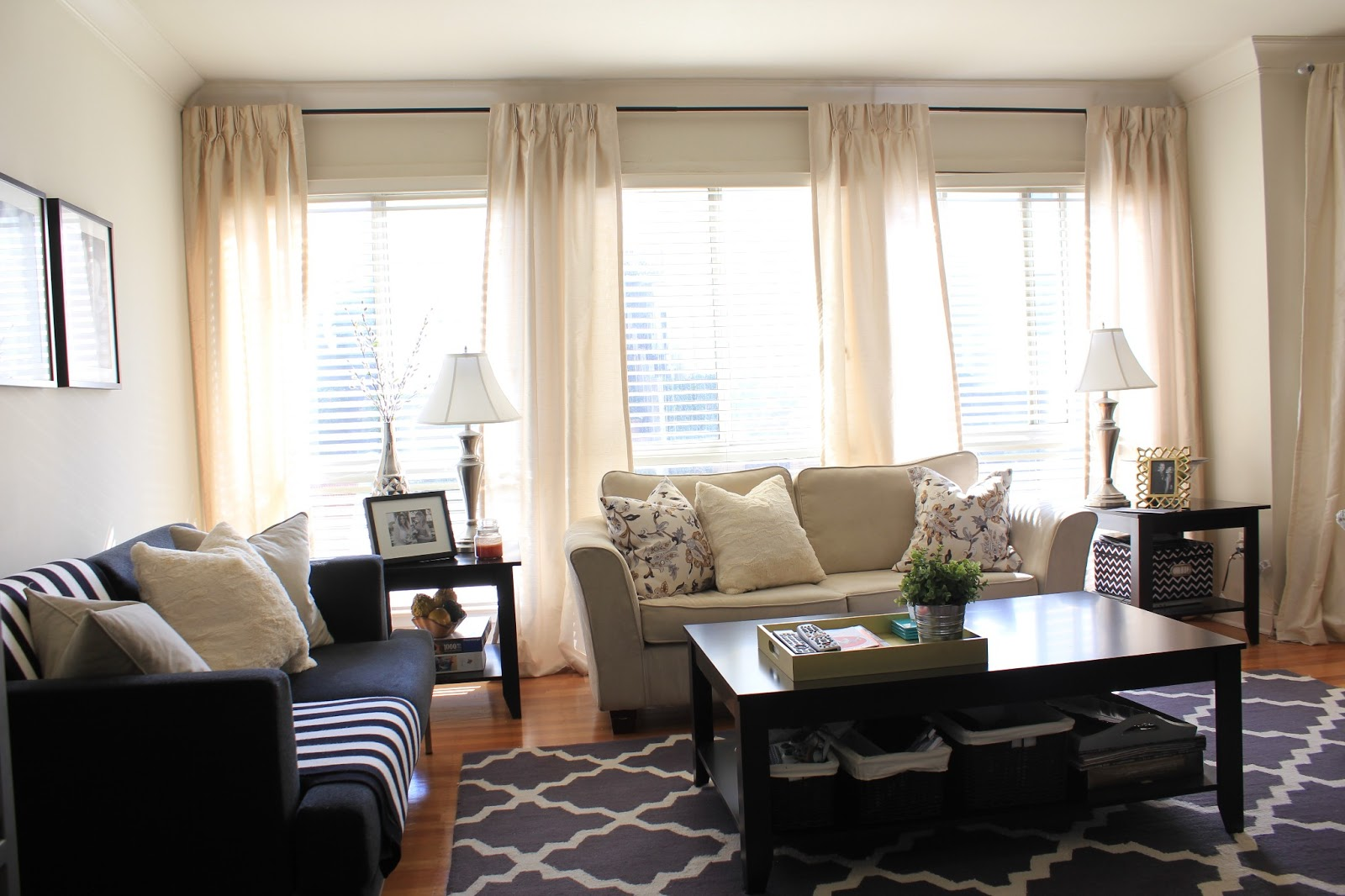 Since Hanging The Chevron Curtains In Our Bedroom, The Creme Colored Silk  Panels That Had Been In The Bedroom, Made Themselves A New Home In The Living  Room ...