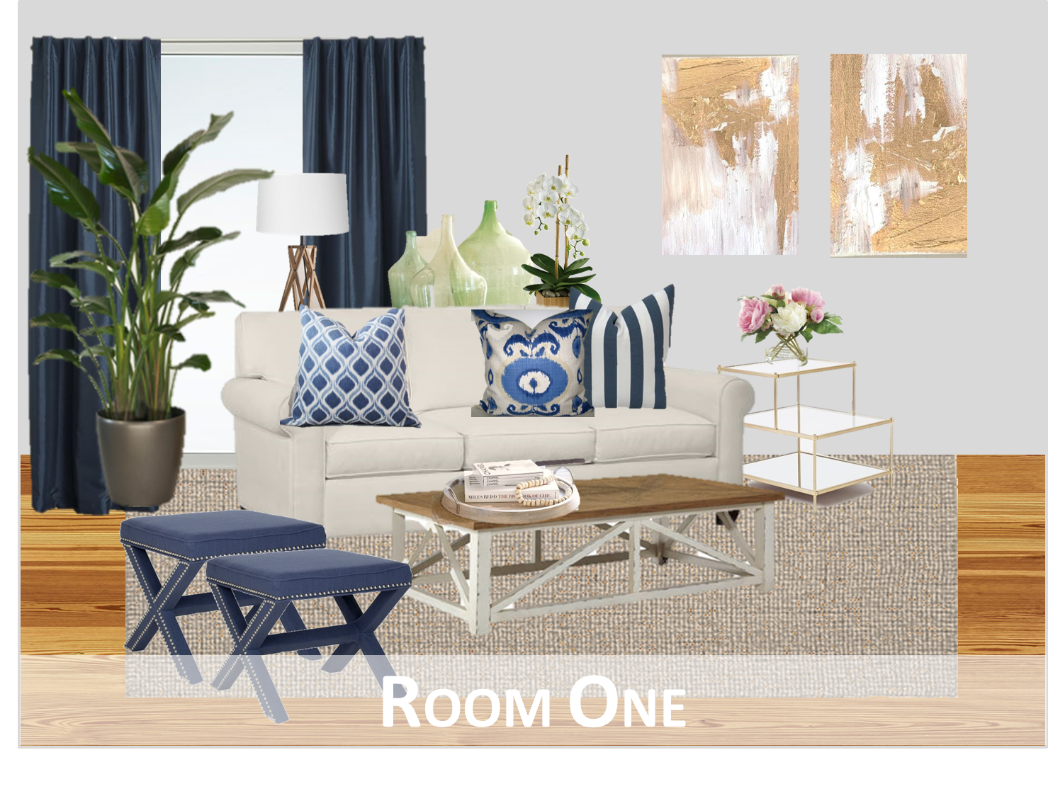 Room One: Here, We Brought In Color Through The Navy Curtains, Navy Stools,  And Patterned Blue And White Throw Pillows. The Rest Of The Room Is Very  Neutral ...